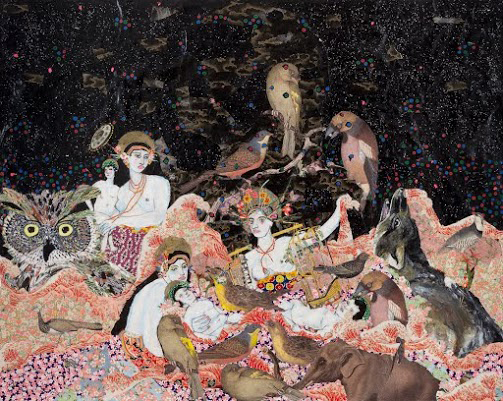 "Maria Berrio Nativity Japanese paper, watercolor paint and rhinestones on canvas 48"" x 60"" 2014"