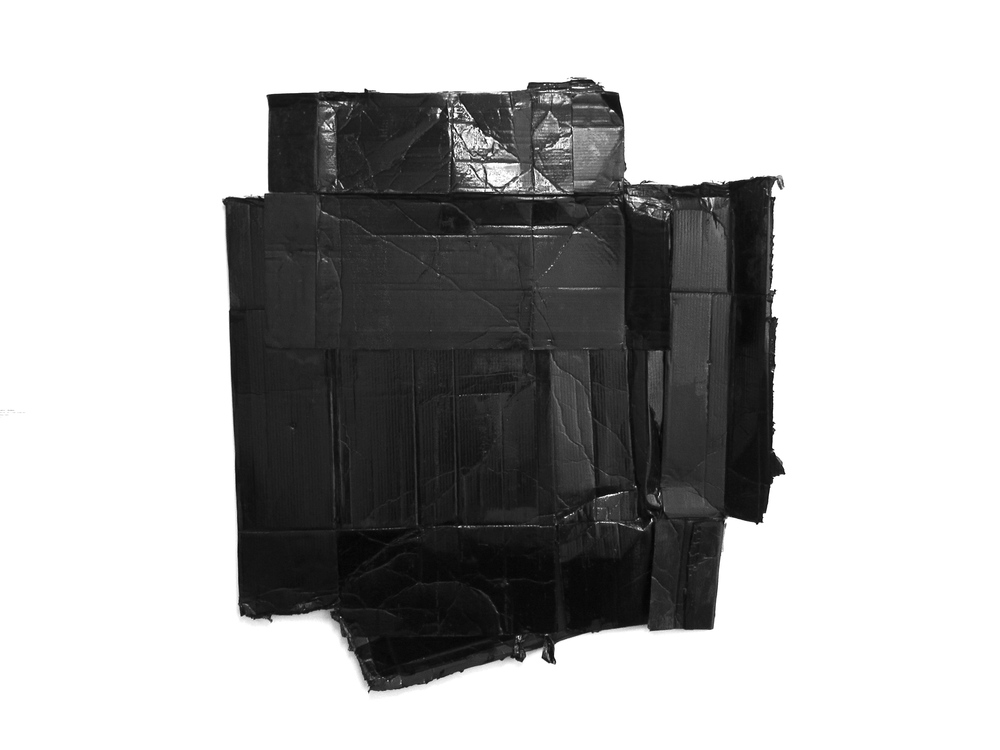 "Gabriel Shuldiner MAGNA CARTA (black square redux) Mixed media approx. 60"" x 53"""