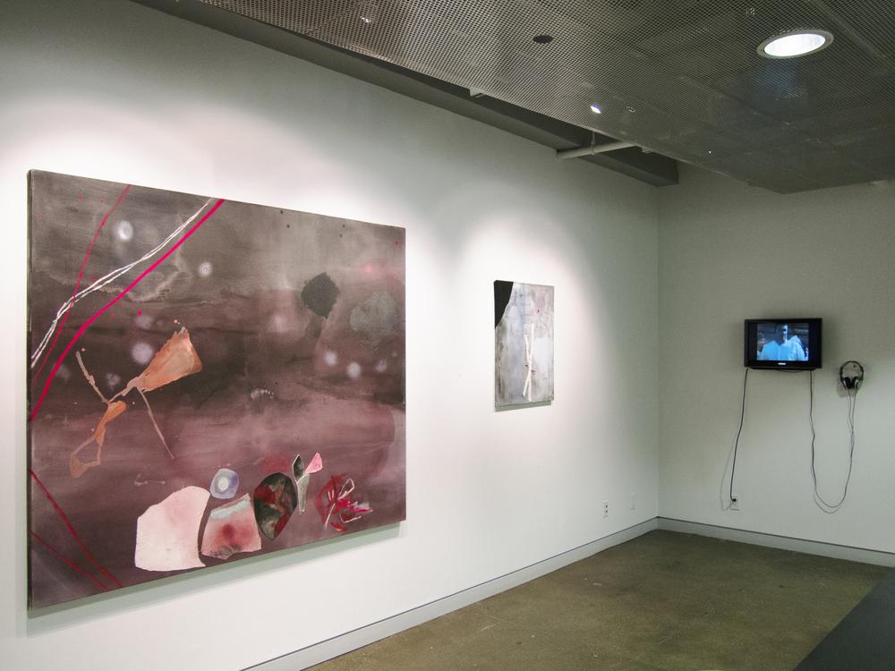 """Installation  Left: Sally Egbert Rain Mixed media on canvas 60"""" x 72"""" 2011"""