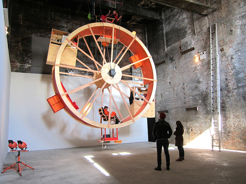 In Orbit  2014 Wood, steel, various household items, 2 people, 10 days 25' x 4' x 25' Pierogi Boiler Room