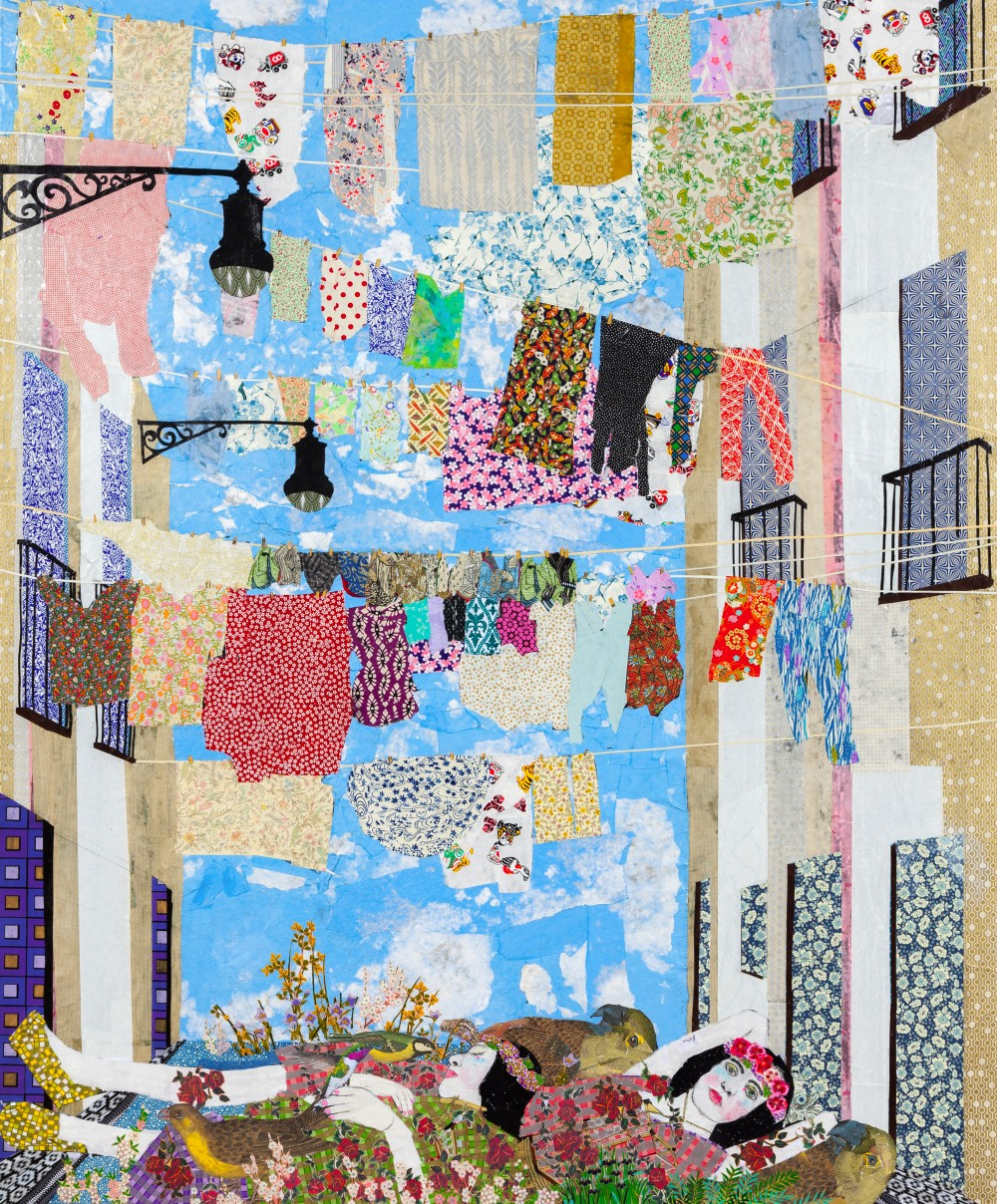 "Title: Knitting the wind  Medium : Collage with Japanese Papers and  watercolor paint.  Year: 2015  Size: 60""x72"""