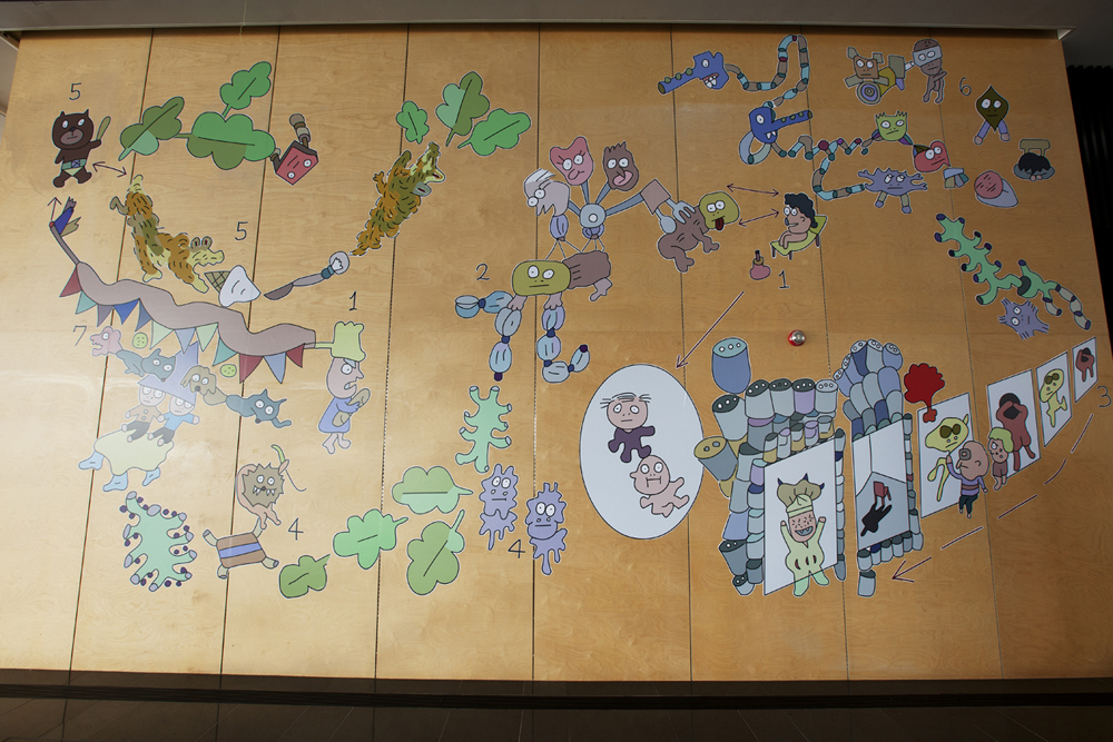 Phantomaniac  Mural with Digitally Printed Stickers 28ft x 15ft Exhibition View at Yonsei University, Korea. 2015