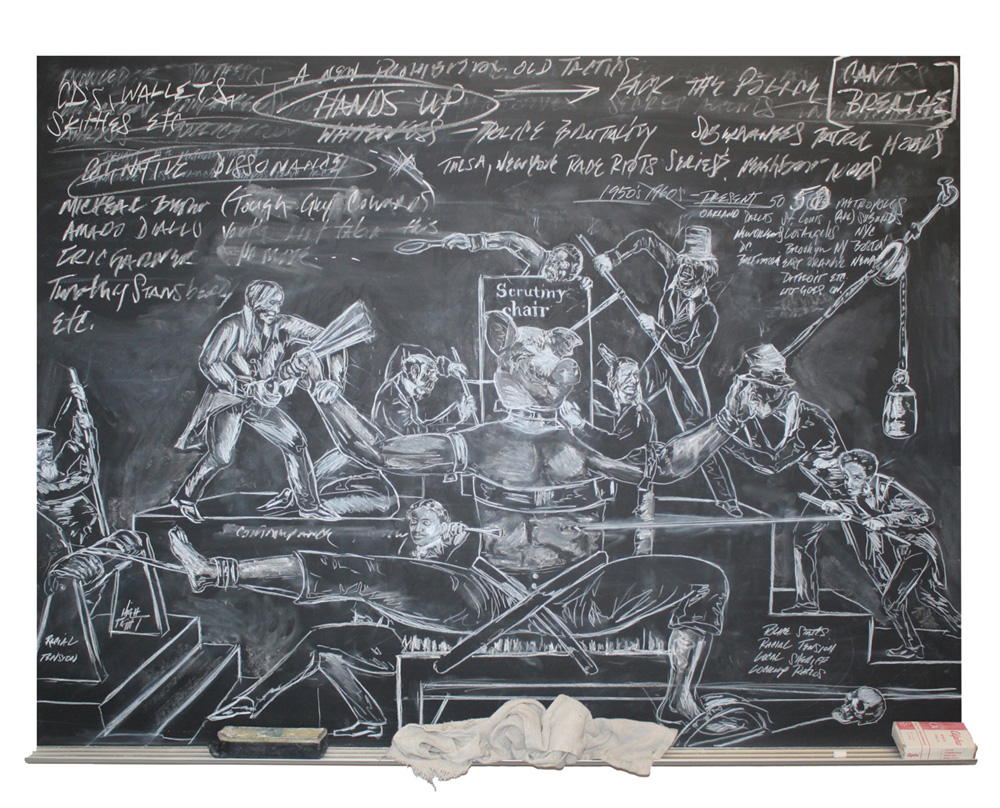 "Unfinished business: the scrutiny of knowing too much too little too late  36""x48"" Chalk on chalkboard w/rag, eraser and white chalk 2014-2015"