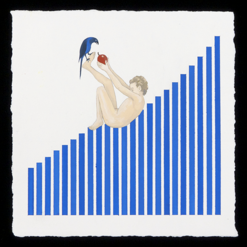"The Decline of the Millennials, Part 1: Rising Student Loan Debt   , 2015 Gouache on paper 6"" x 6"""