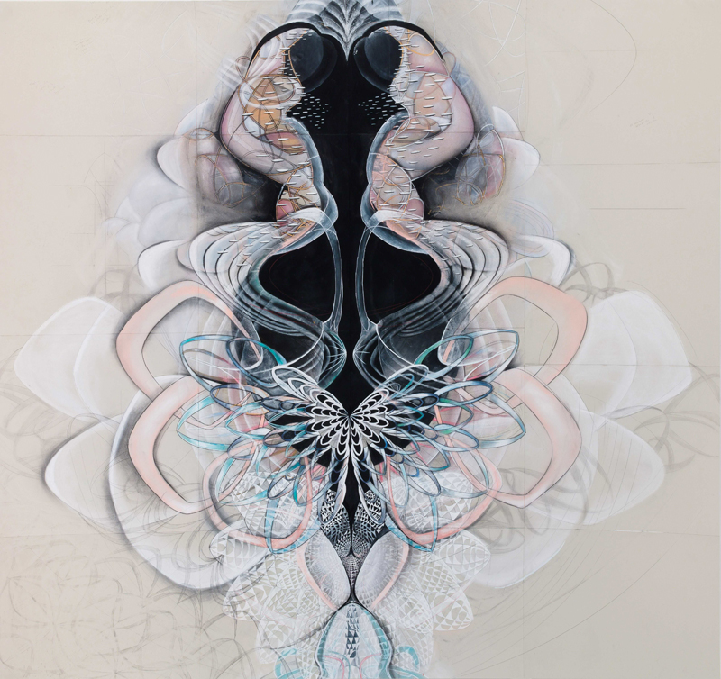 Spectral Light , 2015, graphite, gouache, and pastel on paper, 88 x 90""