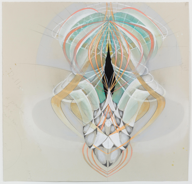 Light as Sound , 2015, graphite, gouache, and pastel on paper, 24 x 25""