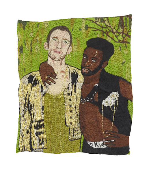 David John Sokolowski and Michael Tikili , 2015, single-strand embroidery on cotton, 4 x 6""