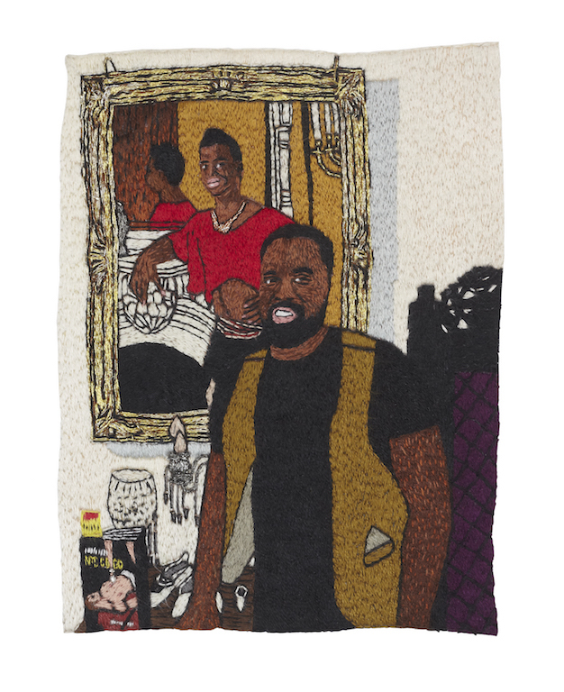 Chaplain Christopher Jones at Home at Harlem , 2017, single-strand embroidery on cotton, 4 x 6""