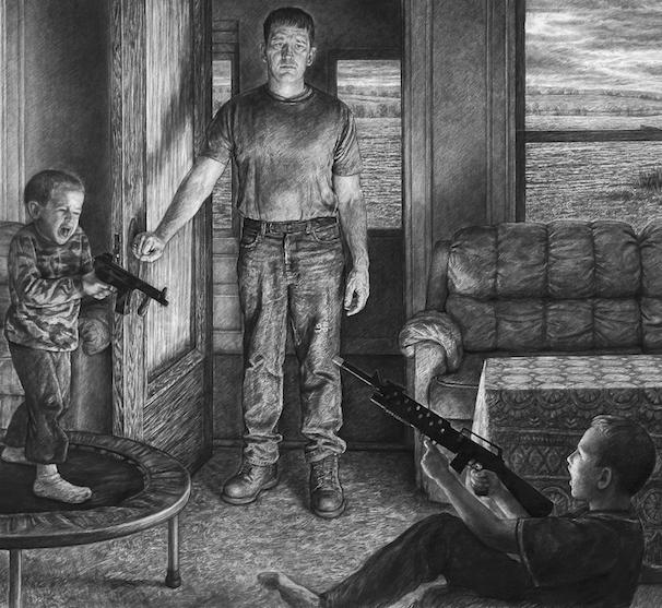 "Edgar Jerins (2014), Christmas Day, Yutan, Nebraska (Detail), Charcoal on paper, 60"" x 103"""