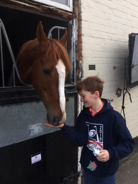 Robin of Navan getting his 6th birthday polo mint from William on 1st January 2019