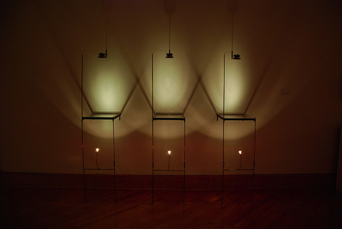 Takafumi Ide, Reverbate, 2008. 12V halogen light, 3-channel interval sound, CD Players, custom electronics, metal, plexi, subwoofer speakers, water, wire, 78 x 100 x 20 Inches