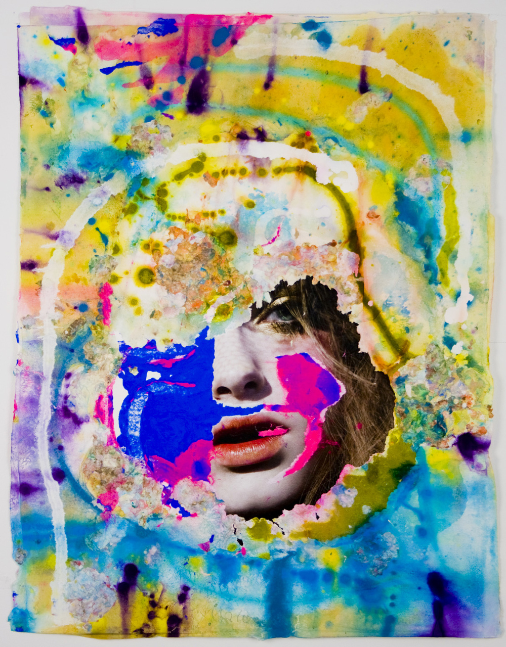 "Jon Kessler, ""The Ecstasy Series #1″, 2008, pigment, paper pulp, magazine on handmade paper. Image courtesy Dieu Donné, NY"