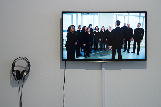 Regina Jose Galindo in collaboration with Paulo Alvarado  Choir , 2015 Vocal performance and video documentation of performance Dimensions variable