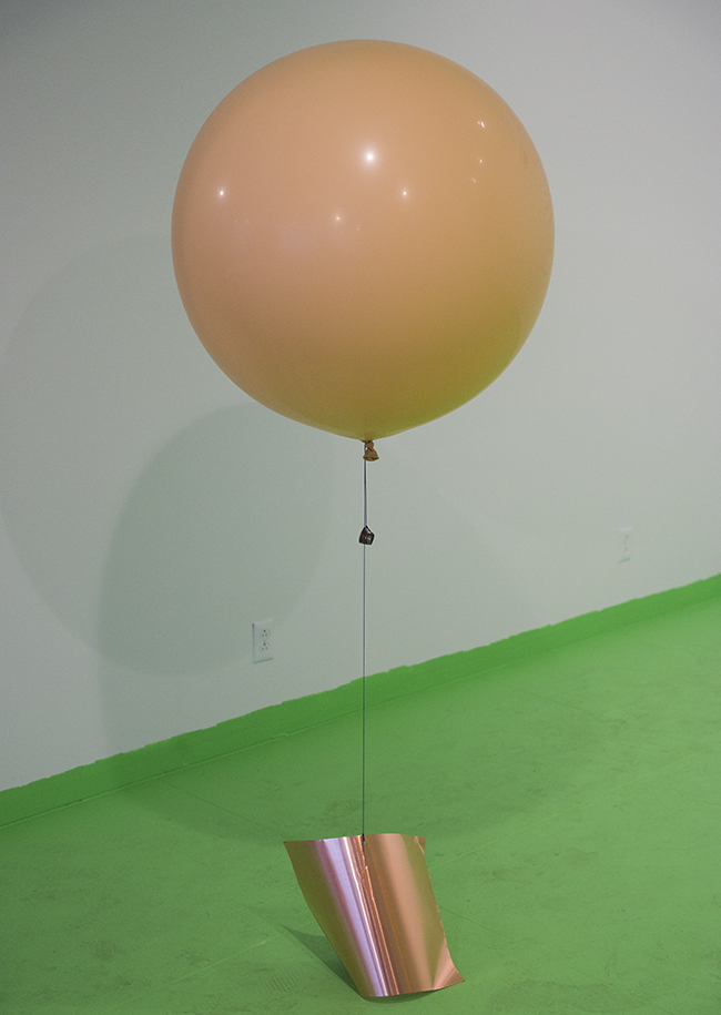 Chosil Kil  Sunday , 2015 Latex balloons, Hi-Float, helium, elastic cord, copper sheets, coins Dimensions variable