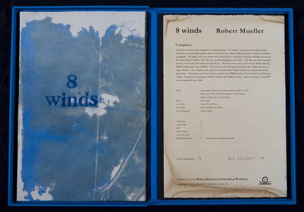 8 Winds, 2007-8 Medium: Artist Book: Hand drawn lithograph with silkscreen & hand work in graphite, coffee, & powdered pigment Dimensions: 30.5 x 22.75 inches Edition Size: 8 Printers: Phil Sanders, Deborah Chaney, Tina Maidhof, and Bob Mueller