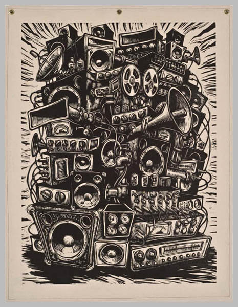 Home Stereo  , 2007 Woodcut on canvas 54 x 42 inches            Edition Size: 15 Printers: Phil Sanders, Deborah Chaney, Mike Houston, Martin Mazorra
