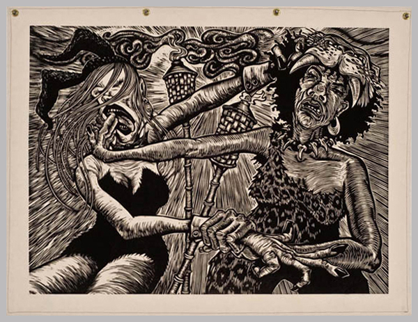 Cat Fight  ,   2007  Woodcut on canvas 42 x 54 inches Edition Size: 15 Printers: Phil Sanders, Deborah Chaney, Mike Houston, Martin Mazorra