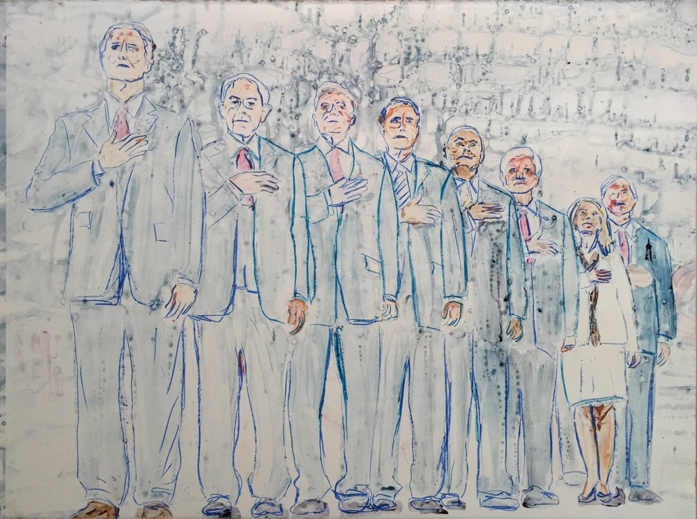 Guy Ben-Ari , Presidential   Candidates - State   I  I  , 2015, Watercolor monotype, 22 x 30 inches