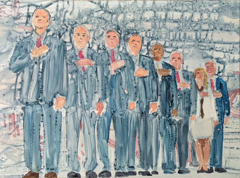 Guy Ben-Ari, Presidential-Candidates, State I, 2015, Watercolor monotype, 22 x 30inches