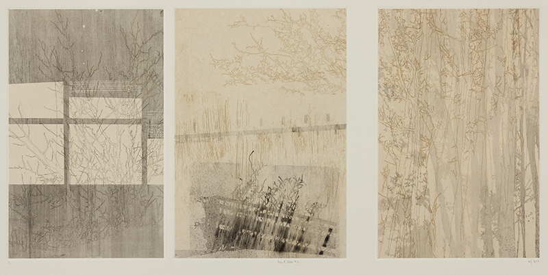 nif hodgson   Here & There #3c , 2013 Multiple plate etching, with screenprinted charcoal powder