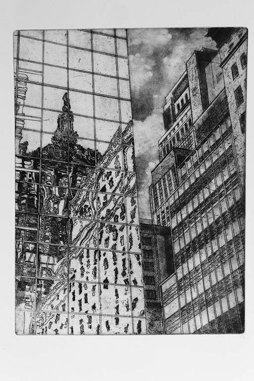 Andy Hoogenboom   Reflections of New York , 2014 Etching with Aquatint and Roulette