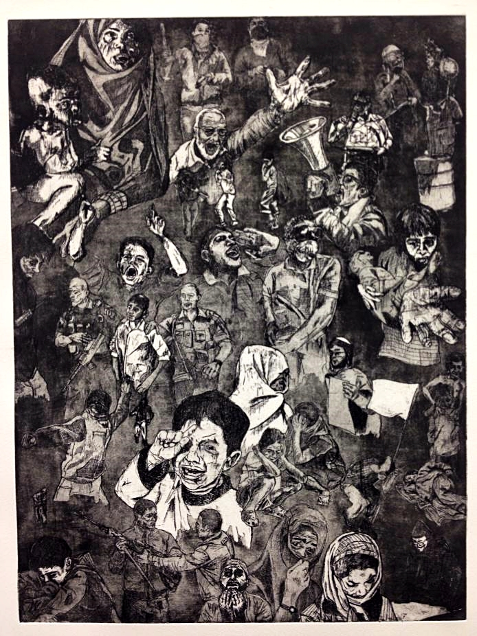 Scott Baird   Voices of Protest , 2014 Etching with aquatint