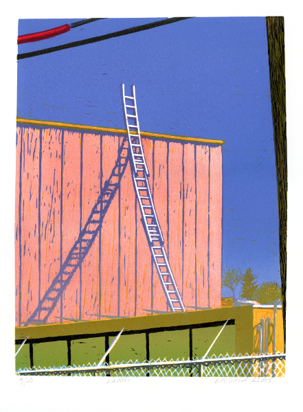 Beth Sutherland  Ladder 2015 Linocut