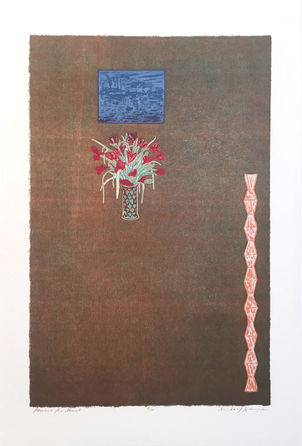 Flowers for Monet,  2017  Laser Woodcut and Chine Collé, 9.25 x 7 in. Edition: 20