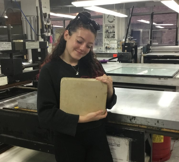 Faye Blue  is a fine art student at The Cooper Union. Faye likes making large scale etchings as well as working experimentally and combining print processes. She also makes works of handmade paper.
