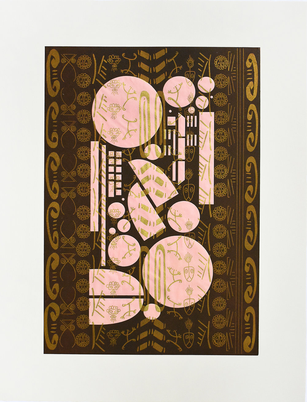 BrownPinkTaínoBlackGold  2018  Photolithograph printed in gold ink on pink Yatsuo paper, flocked with gold pigment. Overprinted with brown relief roll from laser cut plexiglass; 26 x 20 in. Edition: 10 Launch price up to number 3 = $700 ($1,200 thereafter)