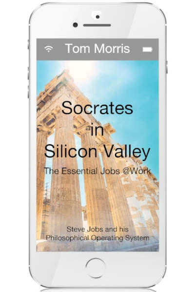 Tom's newest book on Steve Jobs is now available in Hardcover, Paperback and Ebook formats. The cover is a pure white, surrounding this large phone surface, bringing together the world Steve created and the ancient Athens of his intellectual predecessor, the also famous Socrates.