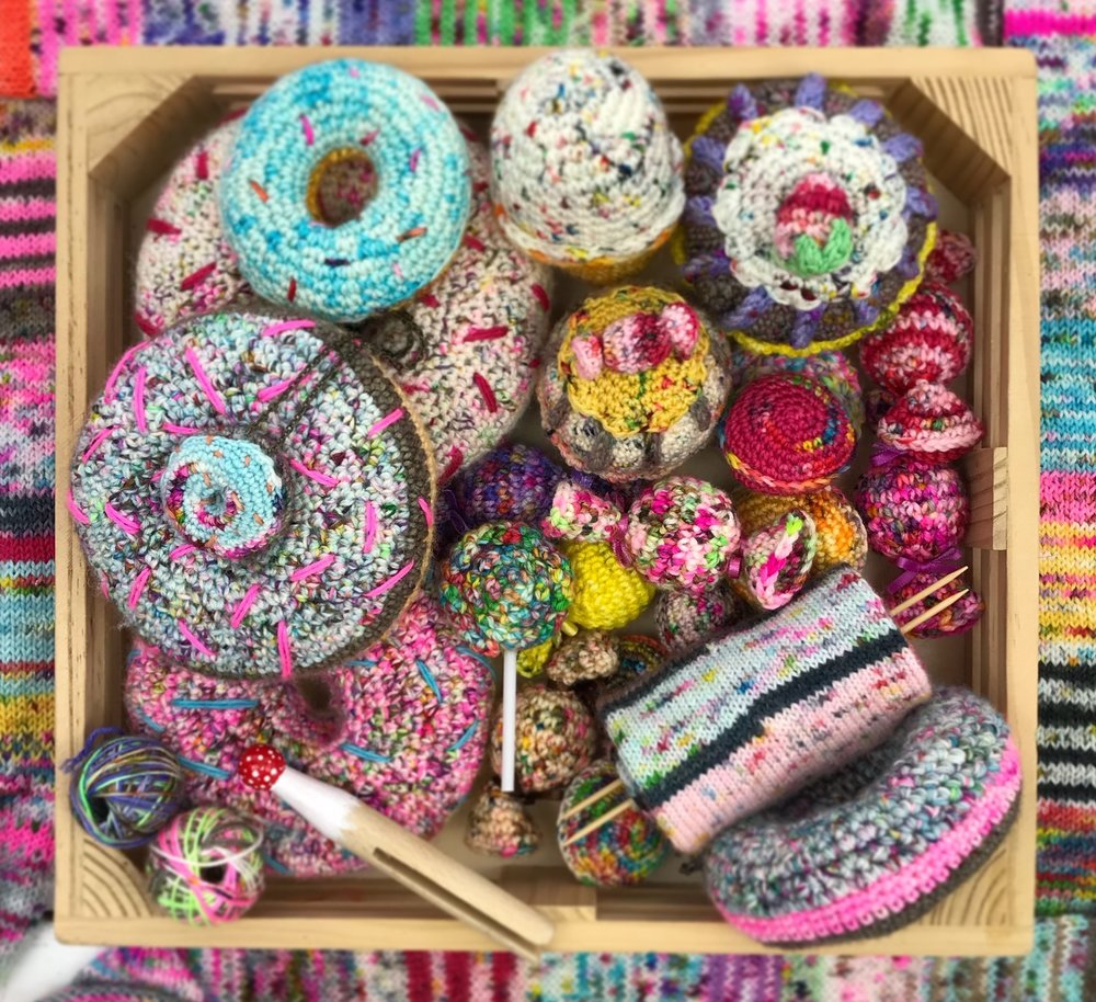 Scrappy Treats - It is no secret that I am obsessed with knitting and crocheting all kinds of doughnuts and cakes! I am teaming up with the wonderful Susan from @BitsandBobbles on Instagram to show you what delights you can create from confectionary inspired squish!Patterns will follow.