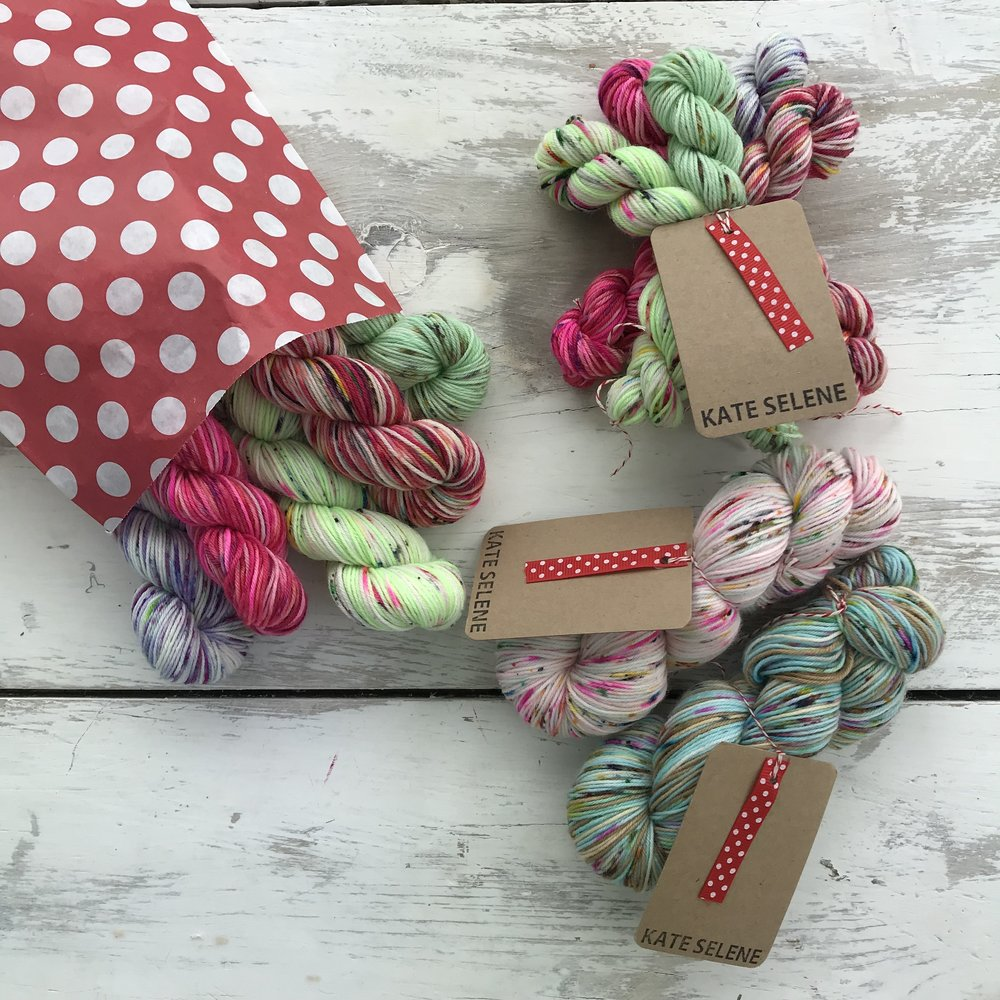 Each month.... - I ship 5 new colours to you in a spotty parcel, which is very easy to spot from a distance!I will pack your colourful squish into a spotty bag, if you choose either 10grams or 20grams, or my lovely brown bags if you went for the 50gram version, and pack it into a waterproof, spotty, shipping bag and send it to you.They will have care tables but no names.......... when the are released in the shop I will add the names to the pages below so that you can keep your eye out for your favourites!
