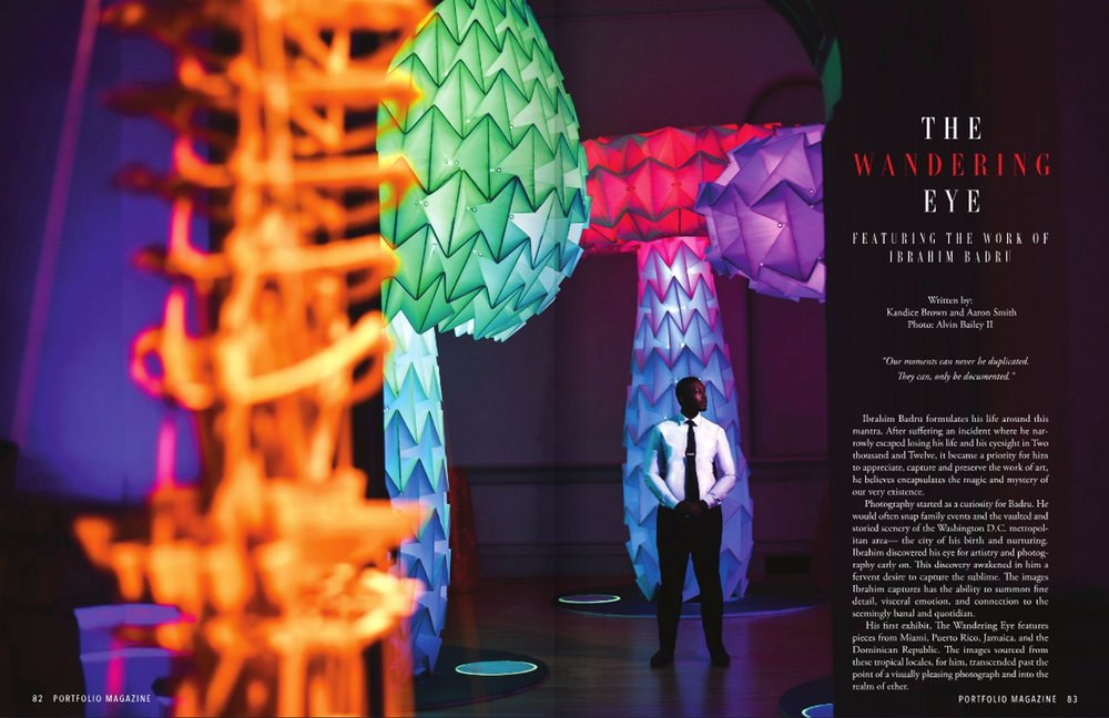 Portfolio magazine+Ibrahim Badru+The Wandering Eye+issue march 2019+eyeObee ART+International+Travel+Artist+Thailand+Miami+Puerto Rico BArt Basel+Spectrum miami+Blink Art