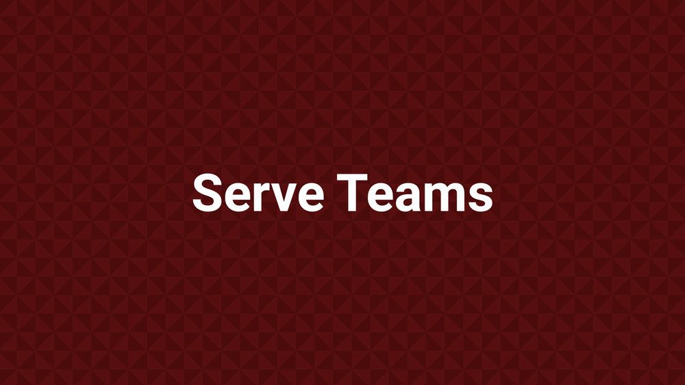 Serve Teams It takes teamwork to make the dream work! Joining a team is a great way to put your spiritual gifts to work in benefit the local church. Teams include First Impressions Team, Kids, Media, Outreach, Students, and Worship.  It is easy to join a team to make a difference.