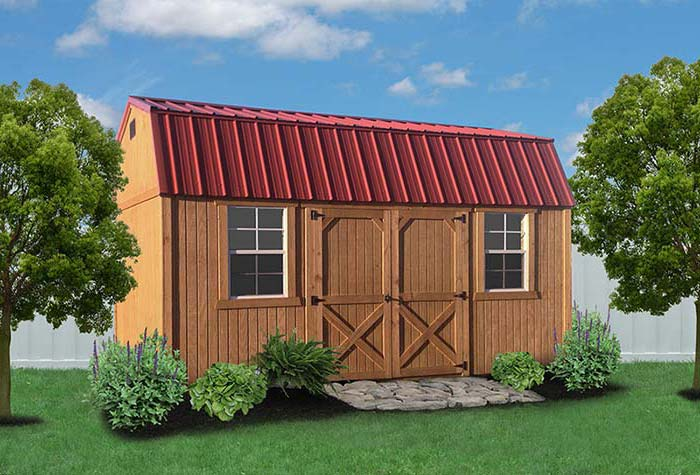 Liberty Storage Treated Wood Garden Shed Red Left.