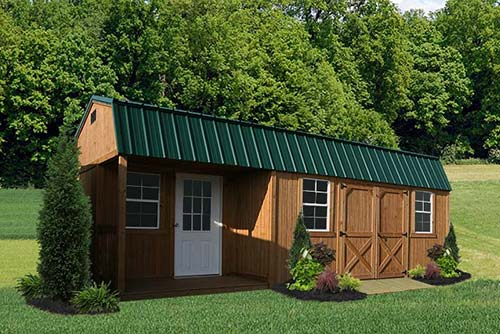 Wood Side Porch ~ Treated wood sheds — liberty storage solutions