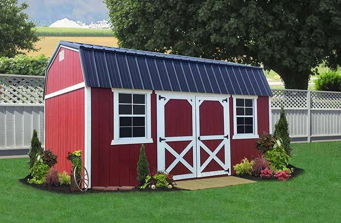 liberty storage painted lofted garden shed red