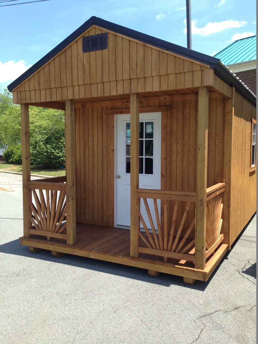 Treated Wood Shed with Porch