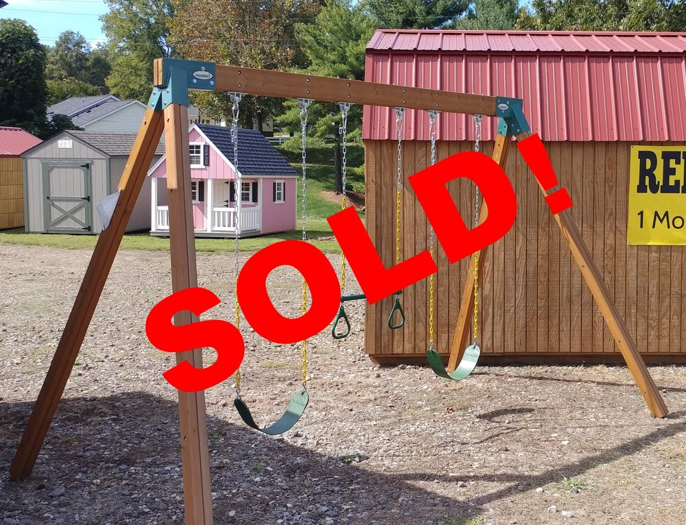 Freestanding Swing Set Normally $699 - Sale $525 Contact your closest dealer or 828-352-9116.