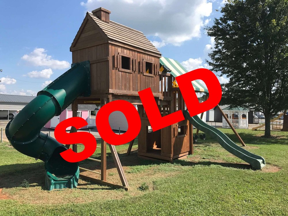 Fantasy Treehouse, Model 1 with Bottom Playhouse  Normally $5,598 - Sale $4,198 Contact your  closest dealer  or  828-465-1400 .