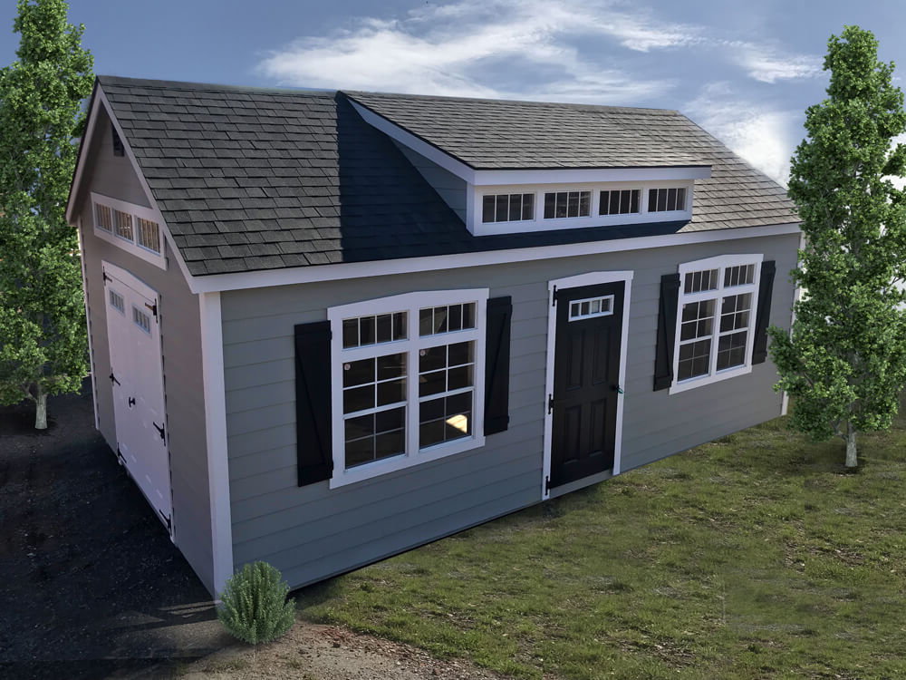 Premier with lap siding. Shown with optional premier transom dormer package, extra painted door with transom glass and transom glass on gable ends.