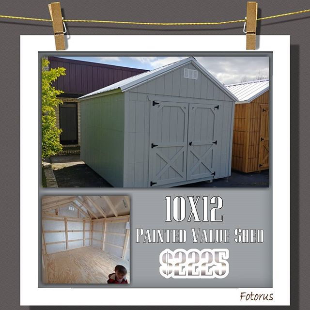 NEW on our lot 10x12 Painted Value Series Shed! Come take a look before it's gone!  FREE Delivery & Set-up for the first 30 miles from our location.  #harkeybarnsandmore  #libertystoragesolutions  #builtstrongtolast #getitbeforeitsgone #whatareyouwaitingfor