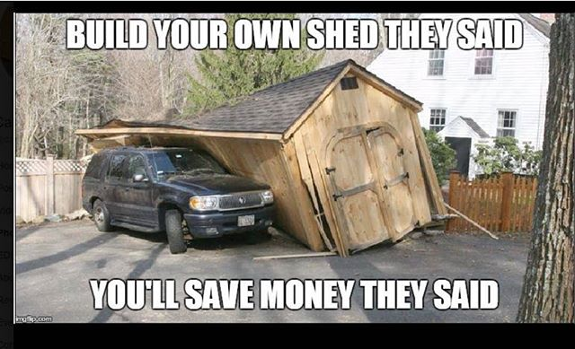 Happy Tuesday!! Thought I would share a laugh this cold wet day.  But seriously, if you have been thinking about getting a shed, NOW is the time!  Stop by to look at our large inventory! Or let me help you design one that fits your needs!  FREE Delivery & Setup for the first 30 miles, only $3 a mile after that.  Still running our 90 Days Same as Cash promotion!! Hope to see you soon!! #harkeybarnsandmore  #libertystoragesolutions  #builtstrong  #builttolast  #wegotyourstoragesolutions  #whatareyouwaitingfor (NOT A LIBERTY BUILDING IN PICTURE, OBVIOUSLY 😁)