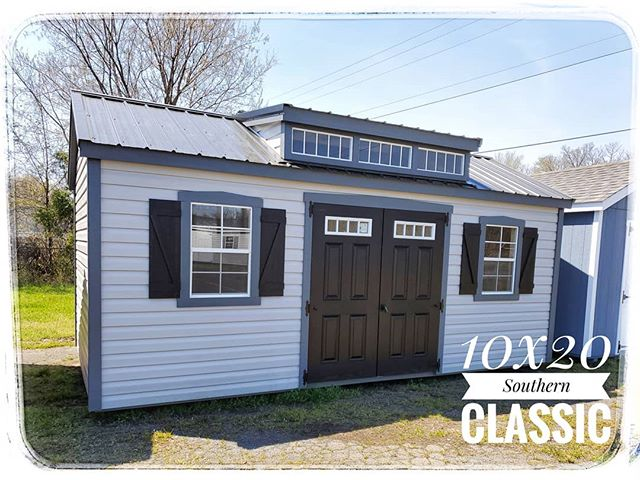 New on our lot 10x20 Southern Classic with Transom Dormer!  Call or stop by to take a look at this beauty!  #harkeybarnsandmore #libertystoragesolutions #southernclassic #whatareyouwaitingfor