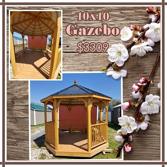 Hello Spring! Is your yard ready for family gatherings? If not, let us help you!  Check out this pre-owned  10x10 treated gazebo with benches! Now only $3309!  FREE Delivery & Set up within the first 30 mile.  Stop by to see our other gazebos. We have a wide variety on our lot.  #harkeybarnsandmore #libertystoragesolutions  #gazebolife #whatareyouwaitingfor