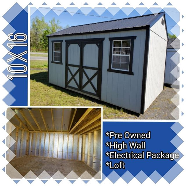 NEW on our lot! Pre-owned 10x16 Painted Utility with High Walls, Electrical Package, & Additional Loft Space!  NOW  ONLY $4215!! FREE delivery and set up within the first 30 miles!  #harkeybarnsandmore  #libertystoragesolutions  #wegotyourstoragesolutions  #whatareyouwaitingfor