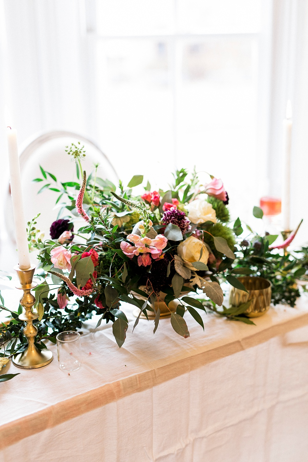 colorful and romantic wedding reception table setting