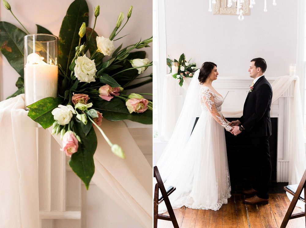 small romantic wedding at leslie-alford mim's house in holly springs nc