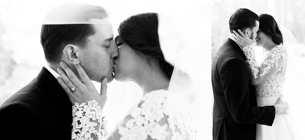 bride and groom kiss at their wedding reception